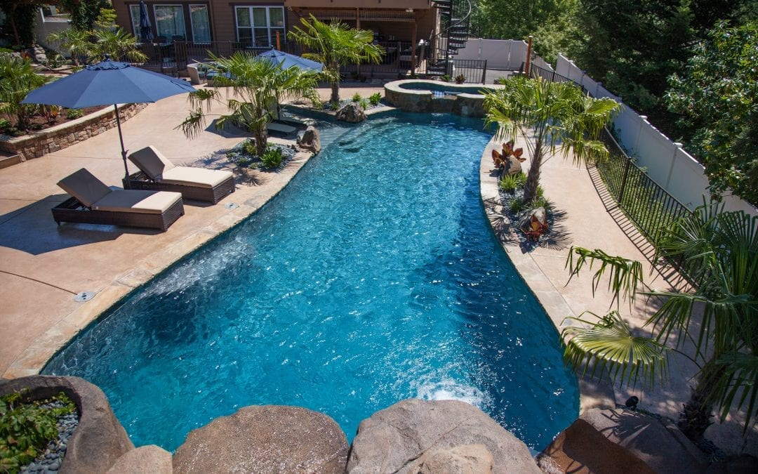 overview picture of a backyard pool
